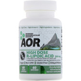 Buy High Dose R-Lipoic Acid 60 Veggie Caps Advanced Orthomolecular Research AOR Online, UK Delivery, Antioxidant R Lipoic Acid