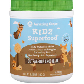 Buy Kidz SuperFood Outrageous Chocolate Flavor 6.5 oz (180 g) Amazing Grass Online, UK Delivery, Superfoods Green Food