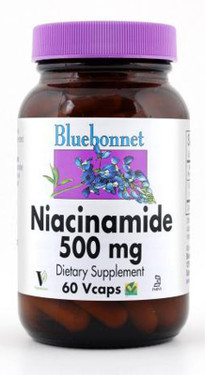 Buy Niacinamide 500 mg 60 Vcaps Bluebonnet Nutrition Online, UK Delivery, Vitamin B3 Niacinamide