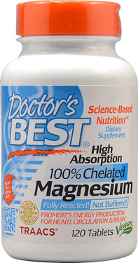 Buy UK High Absorption 100% Chelated Magnesium 120 Tabs Doctor's Best, Energy, Stress, UK Supplements