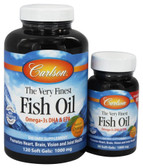 Buy The Very Finest Fish Oil Orange 1000 mg 2 Bottles 120+30 sGels Carlson Labs Online, UK Delivery