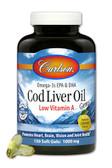 Buy Cod Liver Oil Gems Low Vitamin A Lemon Flavor 1000 mg 150 sGels Carlson Labs Online, UK Delivery, EFA Omega EPA DHA