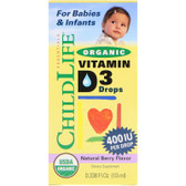 Organic Vitamin D3 Drops Natural Berry Flavor 400 IU 0.338 oz (10 ml) ChildLife