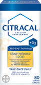 Calcium Supplement Slow Release 1200 + D3 80 Coated Tabs Citracal