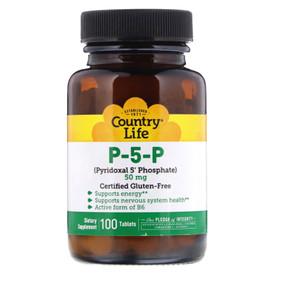 Buy P-5-P (Pyridoxal 5' Phosphate) 50 mg 100 Tabs Country Life Online, UK Delivery, Vitamin B6 Pyridoxine P 5 P Pyridoxal 5 Phosphate