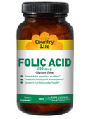 Buy Folic Acid 800 mcg 250 Tabs Country Life Online, UK Delivery, Folic Acid Prenatal Vitamin Pregnancy