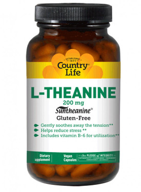 Buy L-Theanine 200 mg 60 Vegan Caps Country Life Online, UK Delivery,