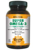 Buy Super Omega-3 Concentrated 60 sGels Country Life Online, UK Delivery, EFA Omega EPA DHA