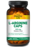 Buy L-Arginine Caps 500 mg 200 Vegan Caps Country Life Online, UK Delivery, Amino Acid