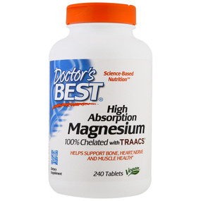 Buy High Absorption Magnesium 100% Chelated 240 Tabs Doctor's Best Online, UK Delivery
