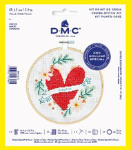 DMC Heart Counted Cross Stitch Kit Complete with Hoop, Needle, Aida and Thread