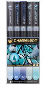 Chameleon Color Tones 5 Pen Set Alcohol Blending Gradient - Blue Colour Tones