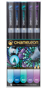 Chameleon Color Tones 5 Pen Set Alcohol Blending Gradient - Cool Tones Set