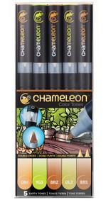 Chameleon Color Tops 5 Pen Set Alcohol Blending Gradient - Earth Tones Set