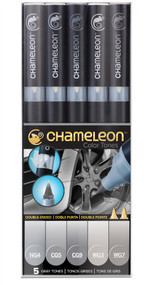 Chameleon Color Tones 5 Pen Set Alcohol Blending Gradient - Gray Colour Tones