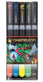 Chameleon Color Tops 5 Pen Set Alcohol Blending Gradient - Primary Tones Set