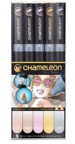 Chameleon Color Tops 5 Pen Set Alcohol Blending Gradient - Pastel Tones Set
