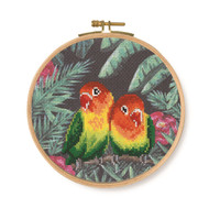 DMC Tropical Birds & Butterflies Printed Cross Stitch Kit - Love Birds