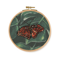 DMC Tropical Birds & Butterflies Printed Cross Stitch Kit - Red Butterfly
