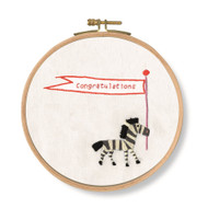 DMC Pets Party Ready to Hang Printed Cross Stitch Kits - CONGRATULATIONS! Zebra