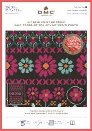 DMC Geometric Flowers Half Cross Stitch Kit with Perle Thread - Pink Geo Flowers