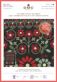DMC Geometric Flowers Half Cross Stitch Kit with Perle Thread - Red Geo Flowers
