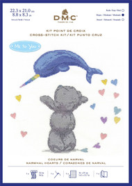 DMC Me to You Counted Cross Stitch Kit - Tatty Teddy Narwhal Hearts