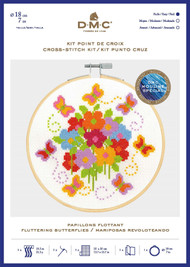 DMC Counted Cross Stitch Kit with Embroidery Hoop - Fluttering Butterflies