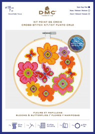 DMC Counted Cross Stitch Kit with Embroidery Hoop - Blooms & Butterflies
