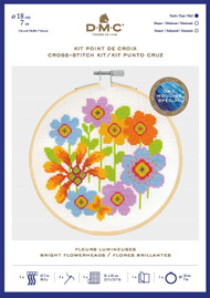 DMC Counted Cross Stitch Kit with Embroidery Hoop - Bright Flowerheads