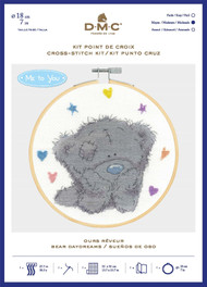 DMC Me to You Counted Cross Stitch Kit with Embroidery Hoop - Bear Daydreams