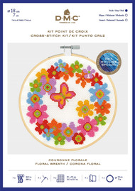 DMC Counted Cross Stitch Kit with Embroidery Hoop - Floral Wreath