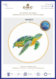 DMC Counted Cross Stitch Kit with Embroidery Hoop - Tranquil Turtle