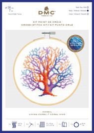 DMC Counted Cross Stitch Kit with Embroidery Hoop - Living Coral