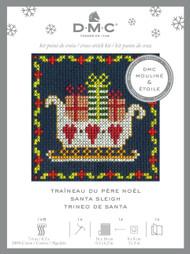 DMC Festive Christmas Mini Counted Cross Stitch Kit - Santa Sleigh