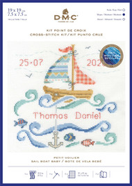 DMC Baby Sampler Counted Cross Stitch, Backstitch Kit - Sail Boat Baby