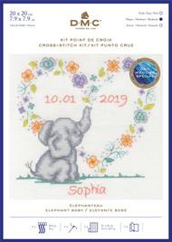 DMC Baby Sampler Counted Cross Stitch, Backstitch Kit - Elephant Baby
