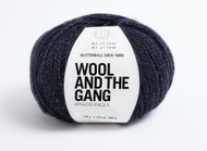 WATG WOOL AND THE GANG Glitterball Sock Yarn 100g 426yd / 390m- Night Fever Navy