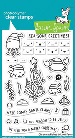Lawn Fawn Christmas Fishes 4X6 Clear Stamp Set