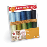 Gutermann 100% Natural Cotton Thread Set 100m Hand and Machine 10 Blues & Greens