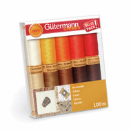 Gutermann 100% Natural Cotton Thread Set 100m Hand and Machine 10 Reds & Browns