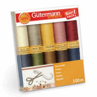 Gutermann 100% Natural Cotton Thread Set 100m Hand and Machine 10 Assorted Reels