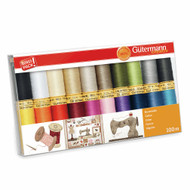 Gutermann 100% Natural Cotton Thread Set 100m Hand and Machine 20 Assorted Reels