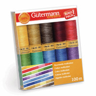 Gutermann 100% Natural Cotton Thread Set 100m Hand and Machine - 10 Assorted Reels