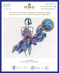 DMC Printed Cross Stitch Kit - Tutu Blue