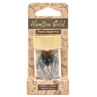 Hemline Gold - Black Plastic Headed Pins