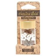 Hemline Gold - White Plastic Headed Pins