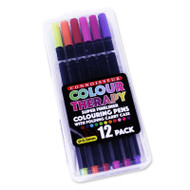 Colour Therapy Colouring Fineliner Pens 12 Pack - In Case