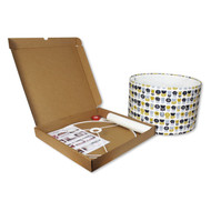 40cm Make Your Own Lampshade Kit - Example of Lampshade with Covering & Opened Box Contents