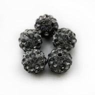 10mm Shamballa Beads - Black Diamond